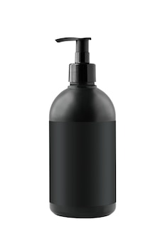 Black cosmetic container with pump isolated on white surface