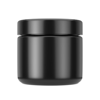 Black cosmetic jar with lid for cream or gel mockup on a white background. 3d rendering