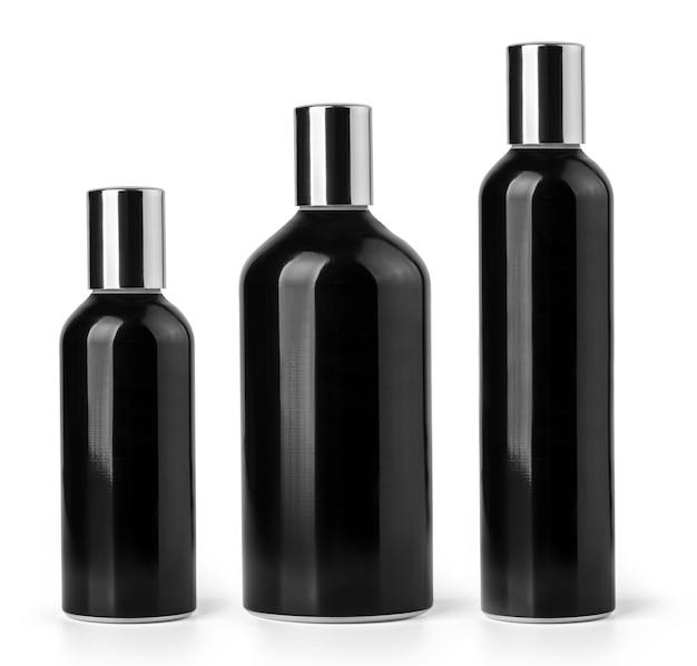 Черный флакон косметики или духов, изолированные на белом