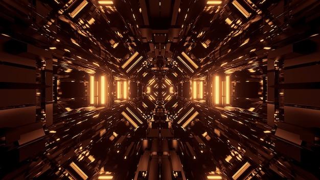 황금 레이저 조명이있는 검은 우주 공간-디지털 벽지에 적합