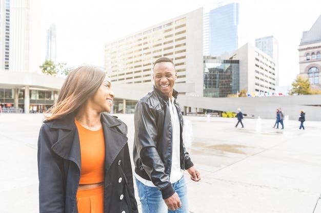 Black couple having fun in toronto city