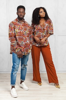Black couple with stylish outfit