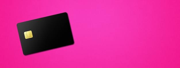 분홍색 배경 배너에 검은 신용 카드. 3d 일러스트레이션