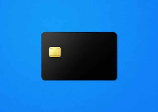 Black credit card template on a blue background. 3d illustration