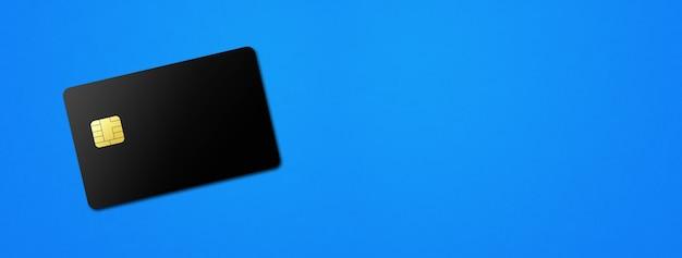 Black credit card template on a blue background banner d illustration