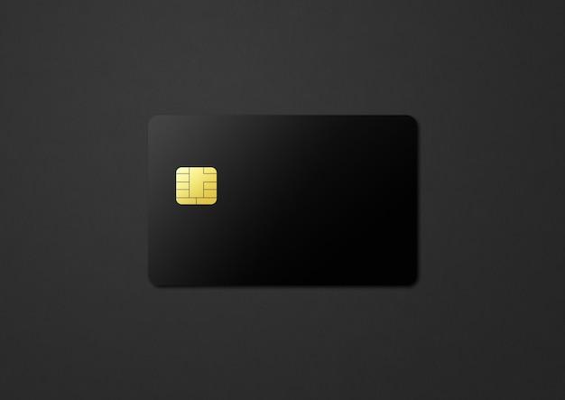 Black credit card template on a dark background. 3d illustration