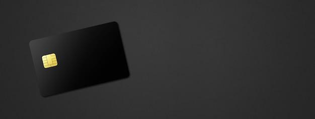 Black credit card template on a dark background banner. 3d illustration