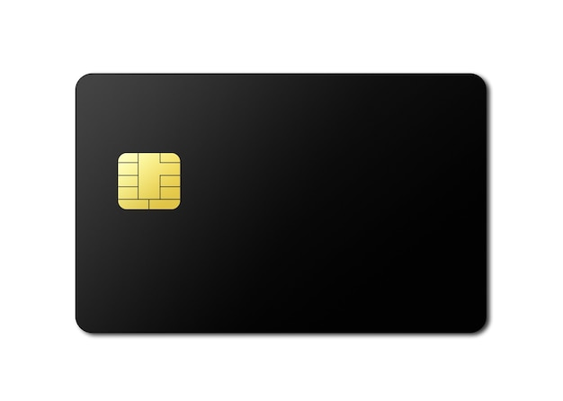Black credit card template isolated on a white background. 3d illustration