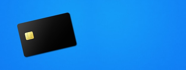 青い背景バナーdイラストの黒いクレジットカードテンプレート