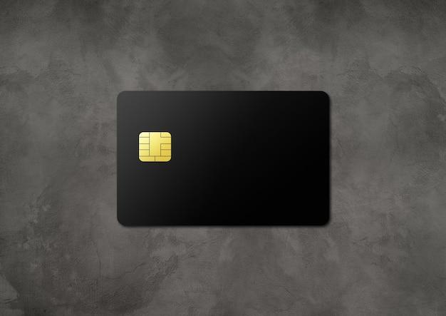 暗いコンクリートの背景に黒いクレジットカードテンプレート。 3dイラスト