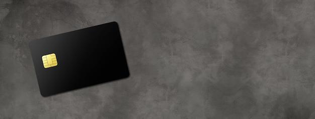 暗いコンクリートの背景バナーに黒のクレジットカードテンプレート。 3dイラスト