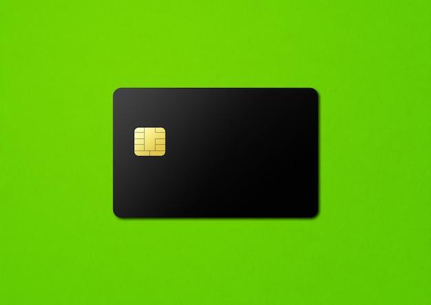 Черный шаблон кредитной карты на зеленом