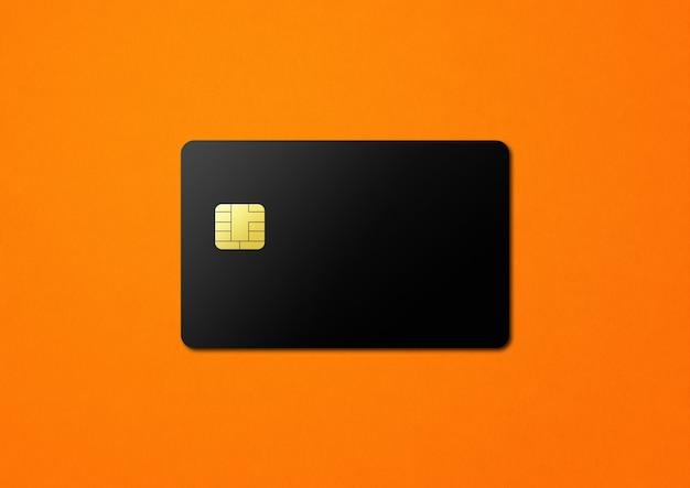 オレンジ色の背景に黒のクレジットカードテンプレート。 3dイラスト
