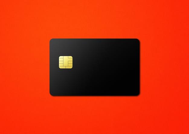 Черный шаблон кредитной карты на красном