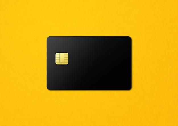 노란색에 검은 신용 카드 템플릿