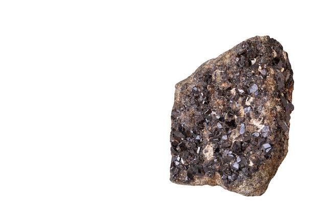 Black crystals of pomegranate mineral