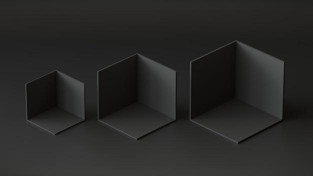 Black cube boxes backdrop display on black background. 3d rendering.