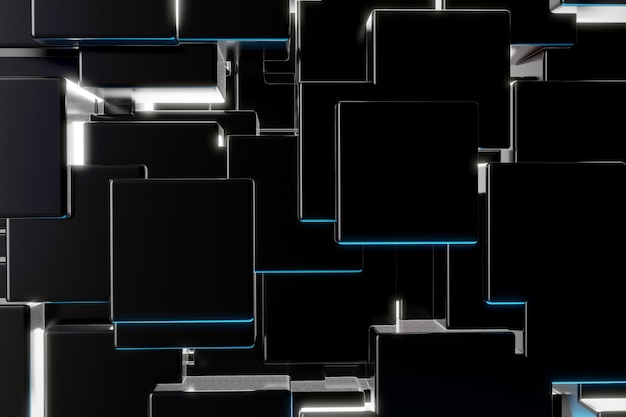 Black cube particle background