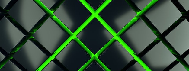 Black cubes on green floor background, 3d render, panoramic image