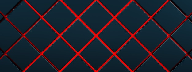 Black cubes on red floor background, 3d render, red lava concept, panoramic image