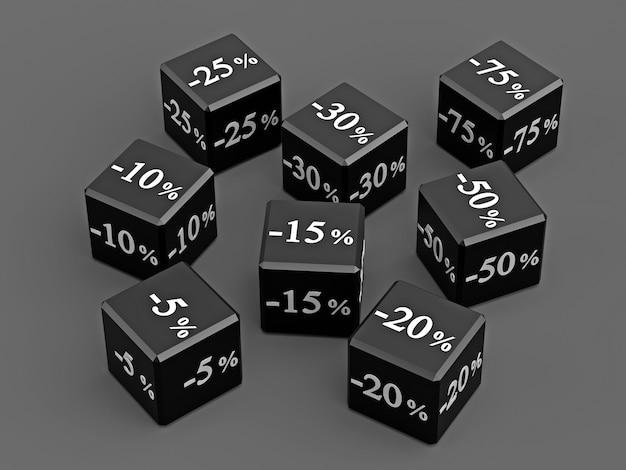 Черные кубики с разными скидками в продаже фигурки с процентами