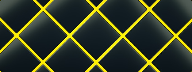 Black cubes on yellow floor background, 3d render, panoramic image