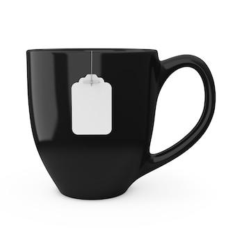 白い背景の上の空白の白いティーバッグラベルモックアップとお茶の黒いカップ。 3dレンダリング
