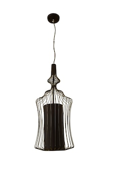 Black curly wire chandelier hanging on a white background cut out for clipping