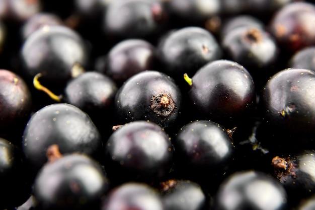 ブラックカラントの新鮮なベリーのクローズアップ、健康的なビーガンフードの背景