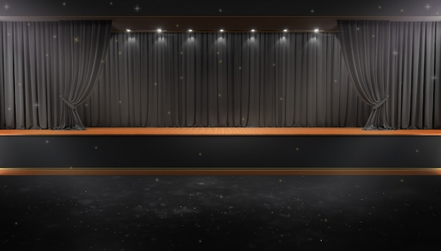 Black curtain and a spotlight. festival night show poster
