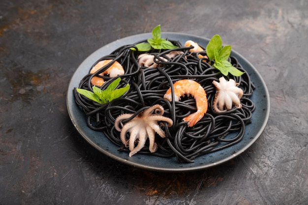Black cuttlefish ink pasta with shrimps