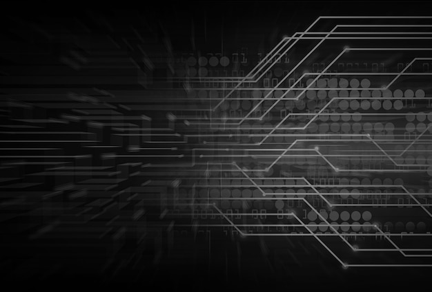 Black cyber circuit future technology concept background