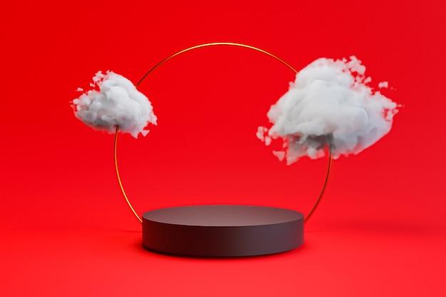 3dレンダリング技術による中国スタイルの製品ステージ表示のための赤い背景に金の指輪と雲の空を持つ黒いシリンダーの表彰台。