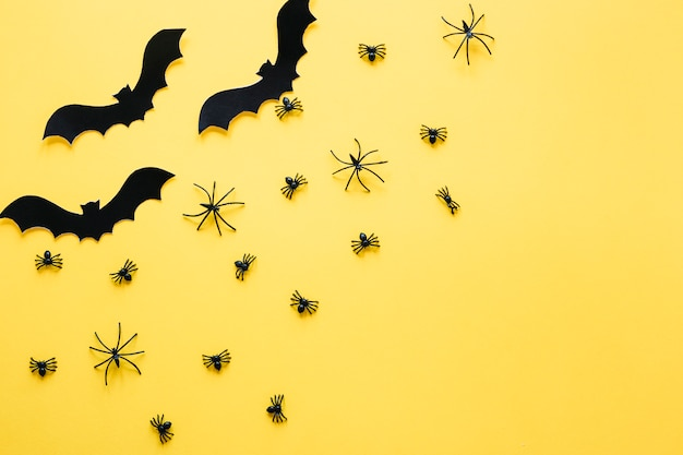 Black decorative bats and spiders