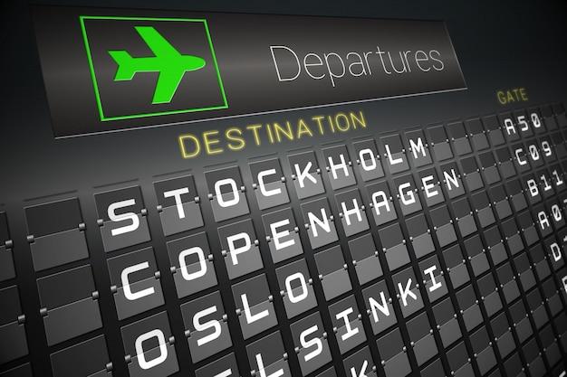 Black departures board for nordic cities