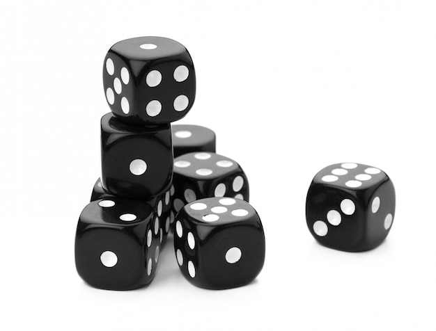 Black dice on a white background