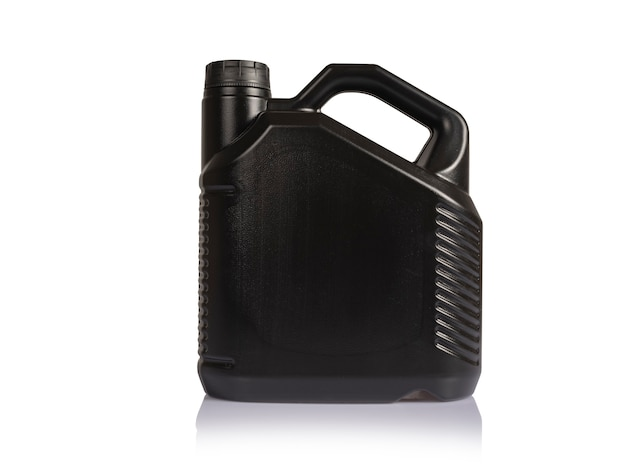 Black diesel oil can on a white background