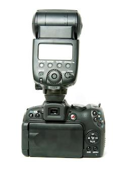 흰색에 고립 된 블랙 디지털 카메라
