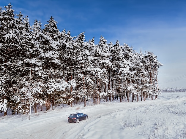 Black dirty hatchback car on winter road in the forest. trees in snow. aerial view.