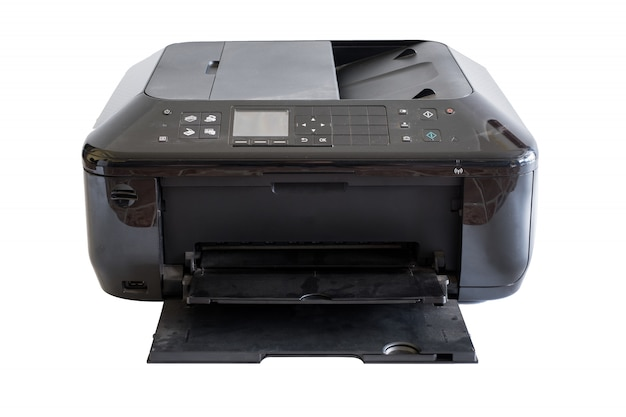 Black document printer toner and colors, isolated on background