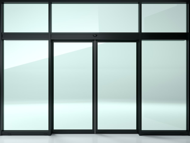 Black double automatic glass door in the shop or windows.