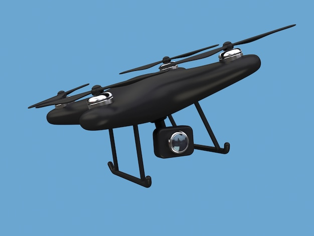 Black drone flying 3d rendering with camera toy cartoon style blue