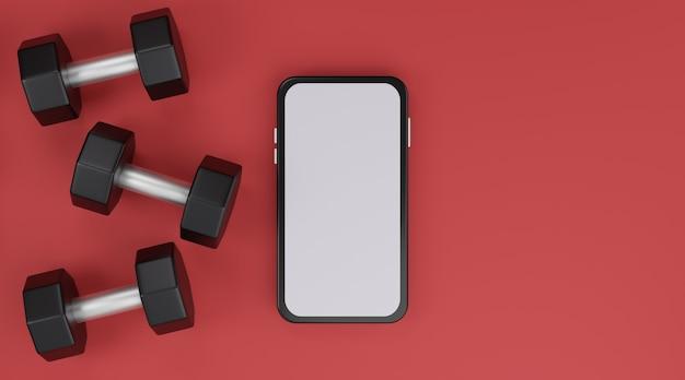 Черная гантель и мобильный макет белого экрана на красном фоне. 3d рендеринг