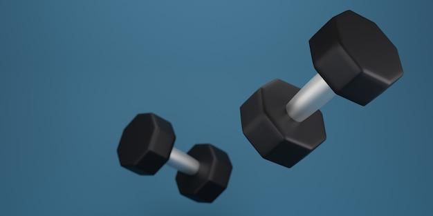 Black dumbbell on a blue background. 3d rendering