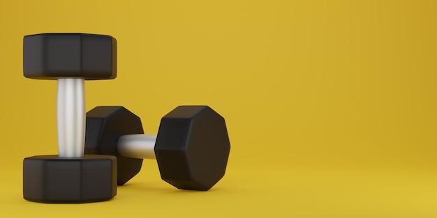 Черная гантель на желтом фоне. 3d рендеринг