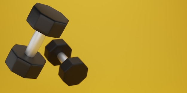 Black dumbbell on a yellow background. 3d rendering