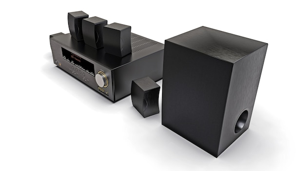 Черный dvd-ресивер и домашний кинотеатр с динамиками и сабвуфером. 3d иллюстрации.