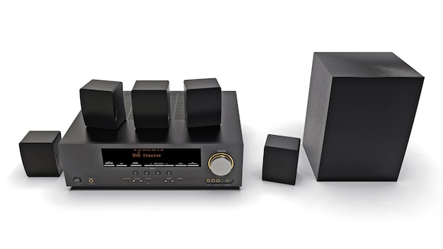 Black dvd receiver and home theater system with speakers and subwoofer. 3d illustration.