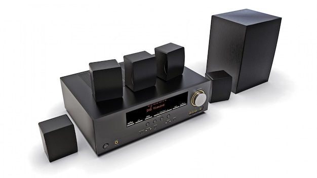Black dvd receiver and home theater system with speakers and subwoofer