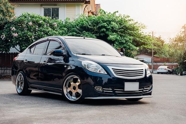 Black eco car in the street